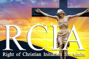 graphic image of the letters RCIA and a crucifix