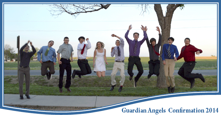 confirmation students jumping